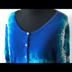 White House Black Market Sweaters - WHBM Royal Blue and Crystal Snap Button Cardigan